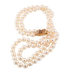 Akoya Cultured Pearl Double Strand Necklace Ruby Diamond Gold