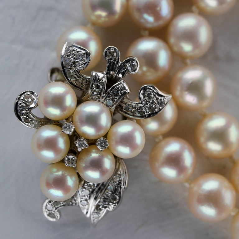 Akoya Pearl Necklace with Diamond Clasp Midcentury For Sale 9