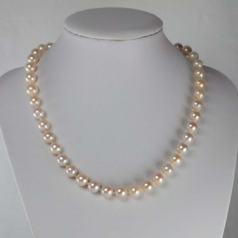 Retro Akoya Pearl Necklace with Diamond Clasp Midcentury For Sale