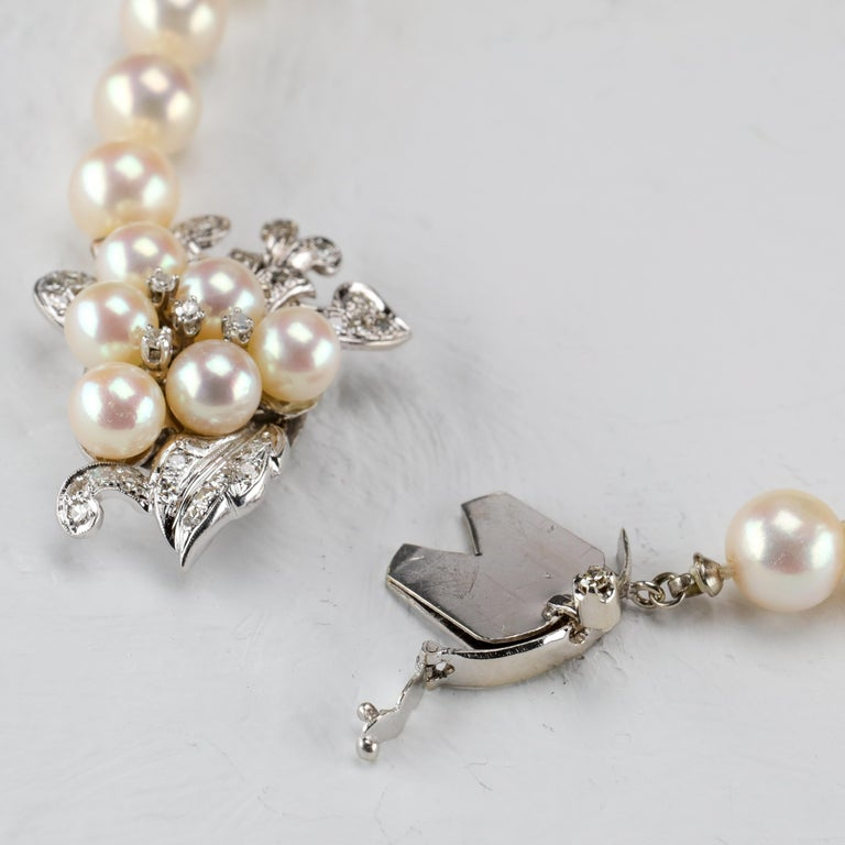Akoya Pearl Necklace with Diamond Clasp Midcentury For Sale 1