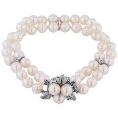 Akoya Pearl and 0.10 Carat Diamond Bracelet