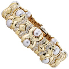 Akoya Pearl and 5.00 Carat Diamond Bracelet