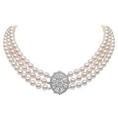 Yoko London Pearls Akoya Pearl and Diamond Choker Necklace in 18 Karat Gold