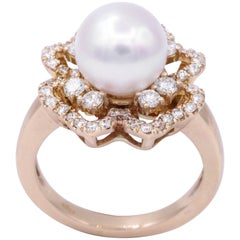 Akoya Pearl and Diamonds Rose Gold Fashion Ring