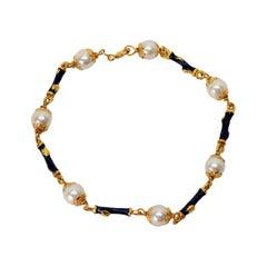 Akoya Pearl Blue Enamel Yellow Gold Link Bracelet