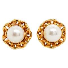 Akoya Pearl Custom Chain Link Earring Studs, Screw On Posts, 14 Karat Gold
