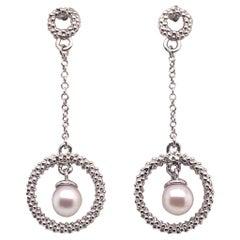 Akoya Pearl Earrings 14 Karat White Gold Certified