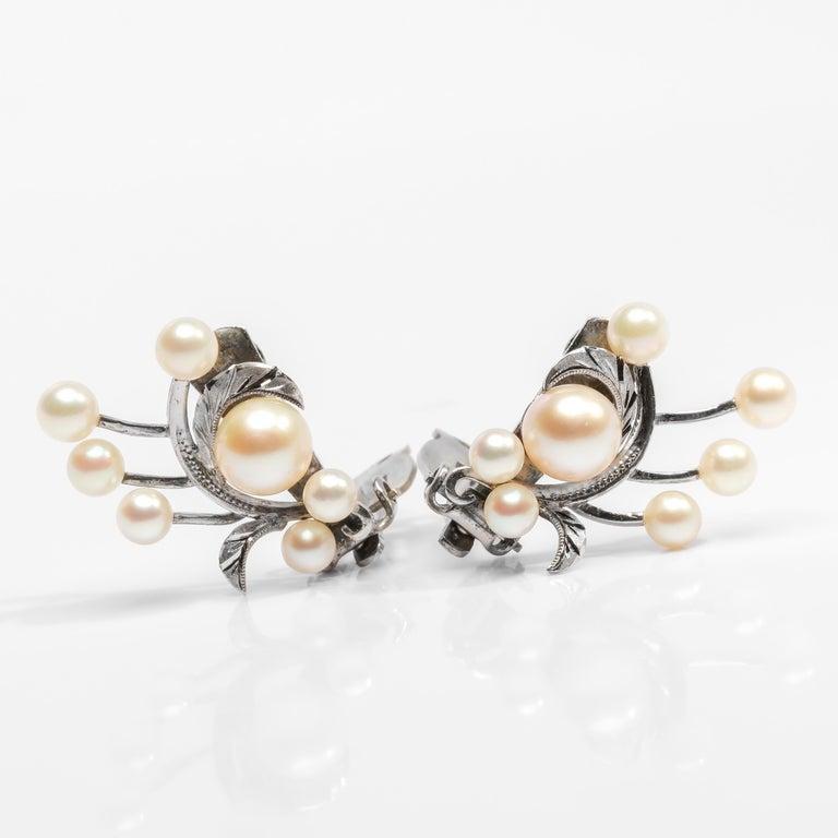 Uncut Akoya Pearl Earrings Gump's Midcentury