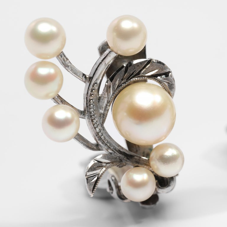 Akoya Pearl Earrings Gump's Midcentury In Excellent Condition In Southbury, CT