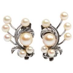 Akoya Pearl Earrings Gump's Midcentury