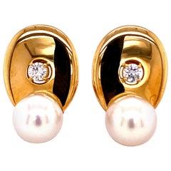 Akoya Pearl Earrings with Diamonds in Yellow Gold 750