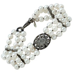 Akoya Pearl Multi-Strand Bracelet w Sterling Silver and Diamond Puff Charm