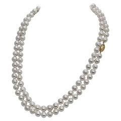 Akoya Pearl Necklace 14 Karat Gold Certified