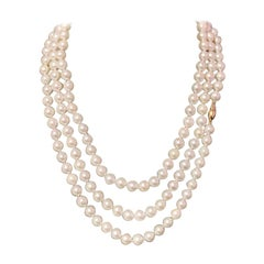 Akoya Pearl Necklace 14k Yellow Gold Certified