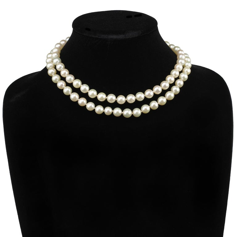 Akoya Pearl Necklace Double Strand For Sale 4
