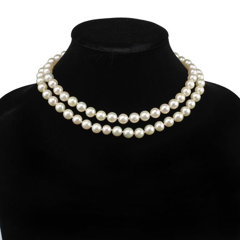Akoya Pearl Necklace Double Strand For Sale 5