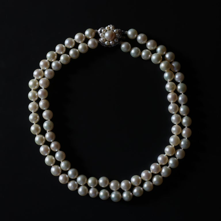 Akoya Pearl Necklace Double Strand For Sale 8