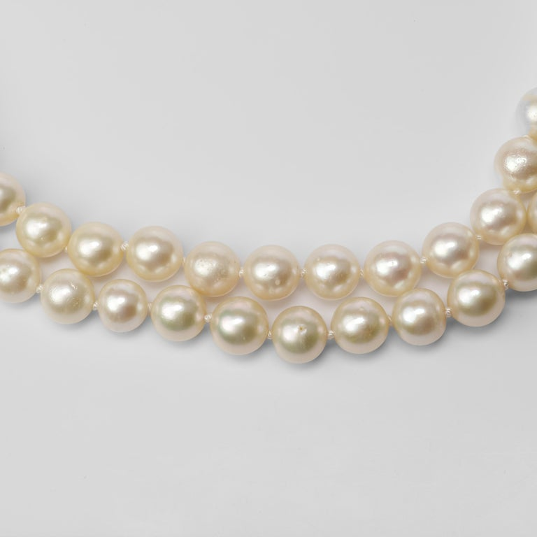Women's Akoya Pearl Necklace Double Strand For Sale