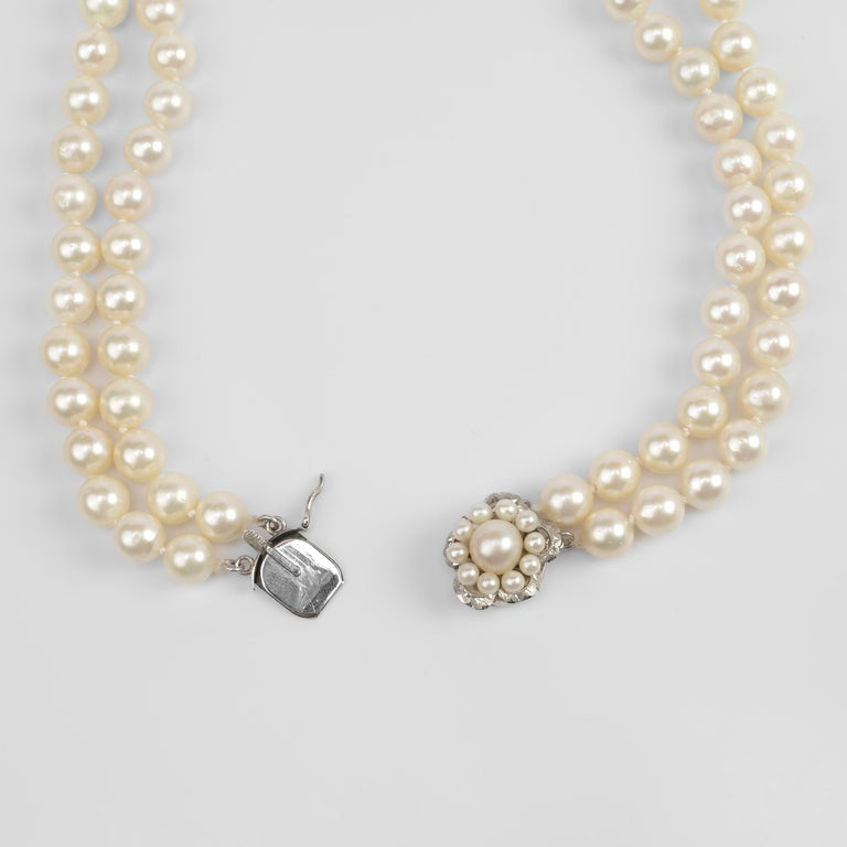 Akoya Pearl Necklace Double Strand For Sale 3