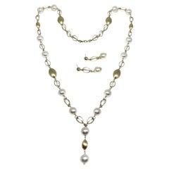Akoya Pearl Necklace Earrings Set 14 Karat Certified