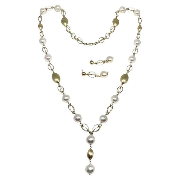 "Akoya Pearl Necklace Earrings Set 9.8 mm 25.5"" 14k Gold Certified  For Sale"