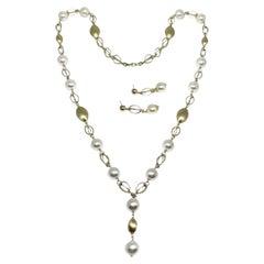 Akoya Pearl Necklace Earrings Set 14k Gold Certified