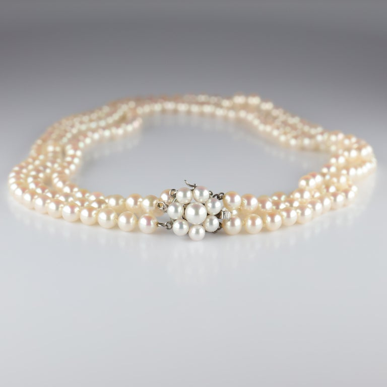 Akoya Pearl Necklace Three Strand by Tasaki For Sale 5