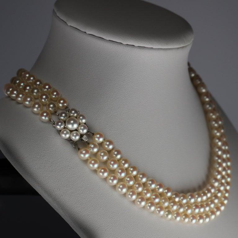 Modern Akoya Pearl Necklace Three Strand by Tasaki For Sale