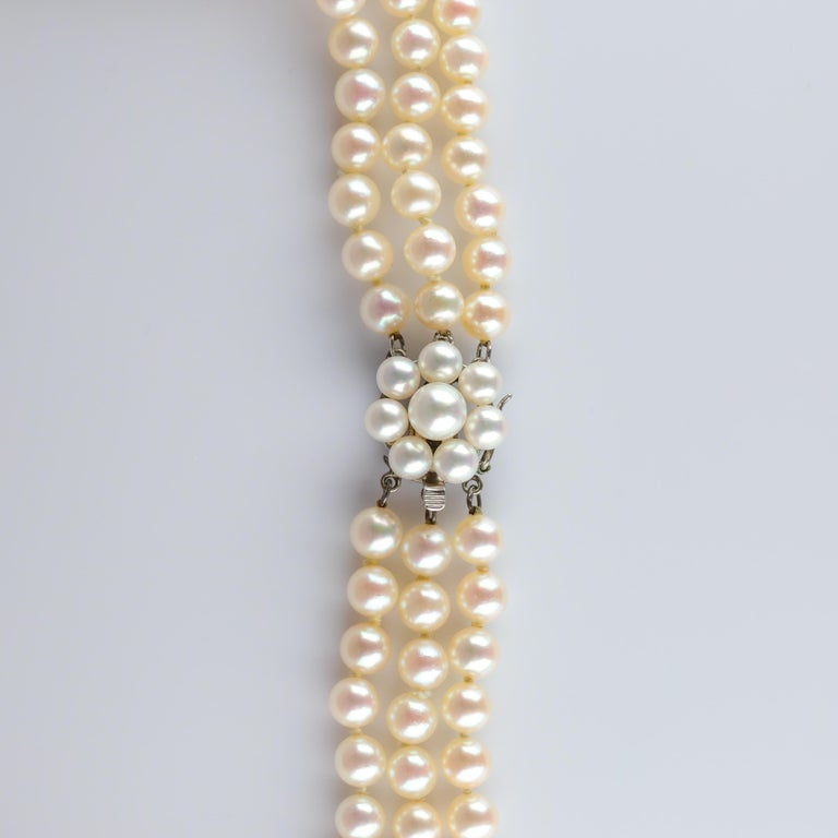 Akoya Pearl Necklace Three Strand by Tasaki In Excellent Condition For Sale In Southbury, CT