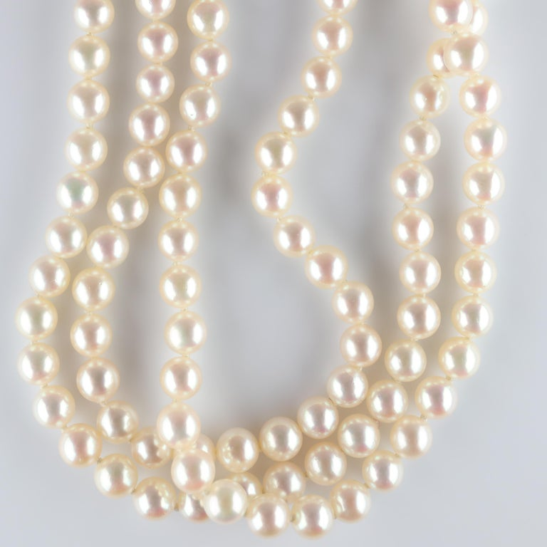 Women's Akoya Pearl Necklace Three Strand by Tasaki For Sale
