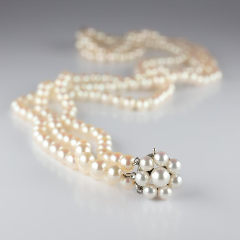 Akoya Pearl Necklace Three Strand by Tasaki For Sale 4