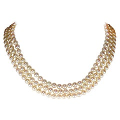Akoya Pearl Necklace Three Strand by Tasaki