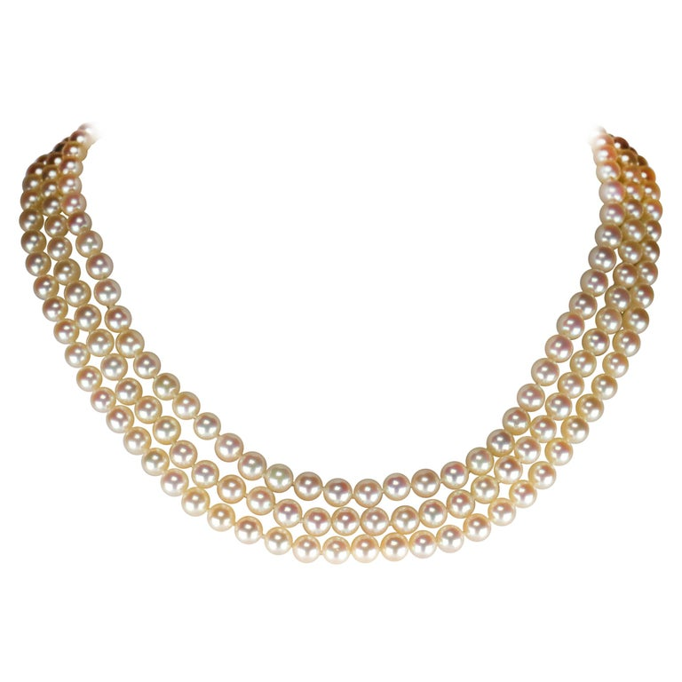 Akoya Pearl Necklace Three Strand by Tasaki For Sale