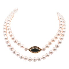 Akoya Pearl Necklace with 14 Karat Yellow Gold Jade Clasp