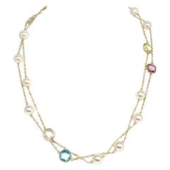 Akoya Pearl Quartz 14 Karat Station Necklace Certified