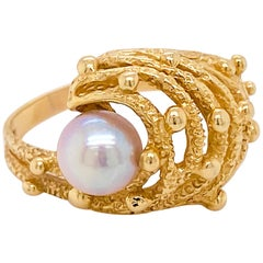 Akoya Pearl Ring, Estate Cocktail Ring, Unique Nugget Ring, Yellow Gold