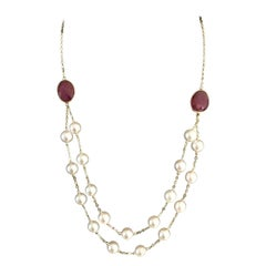 Akoya Pearl Ruby Necklace 14k Gold Certified