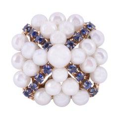 Akoya Pearl & Sapphire Ring