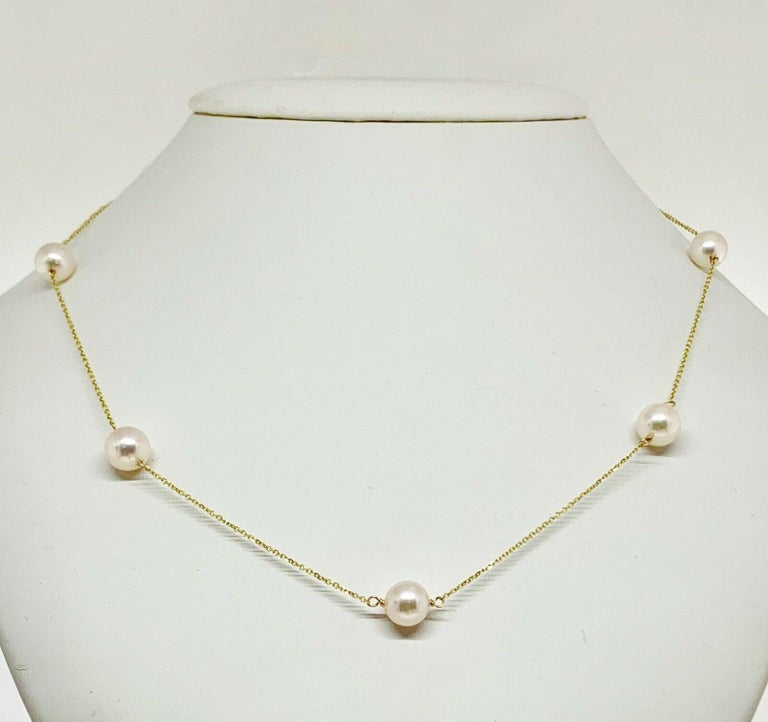 Certified In The Amount Of $1,850 Certificate # -721785 GENUINE CULTURED FINE QUALITY SALTWATER 8.50-8.15 MM PEARL 14KT SOLID WHITE GOLD 19.5 INCH NECKLACE 721785  Here is a beautiful new handmade Genuine Saltwater Akoya Pearl necklace with large