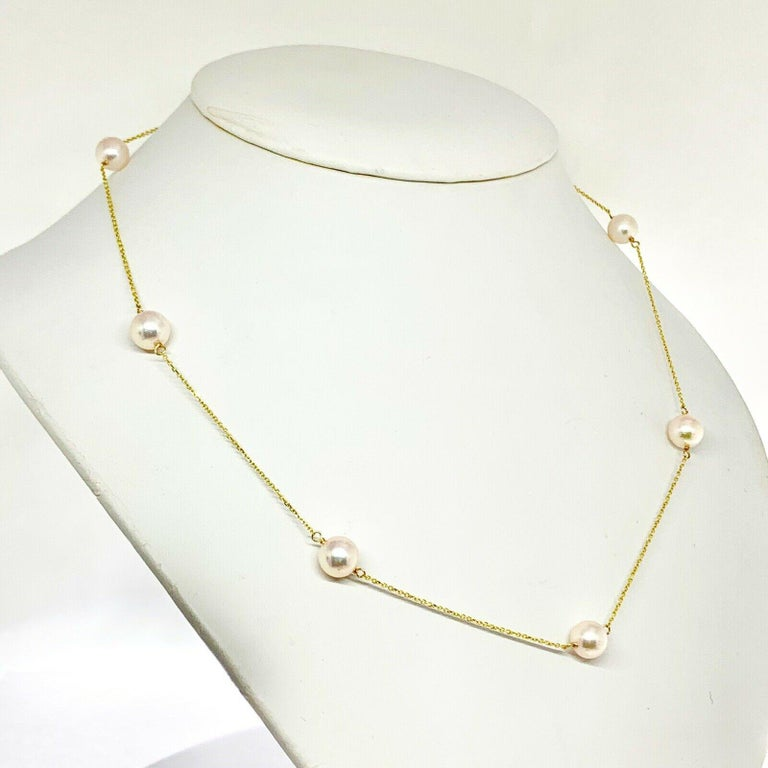 Round Cut Akoya Pearl Station Necklace 14 Karat Gold Large Certified For Sale