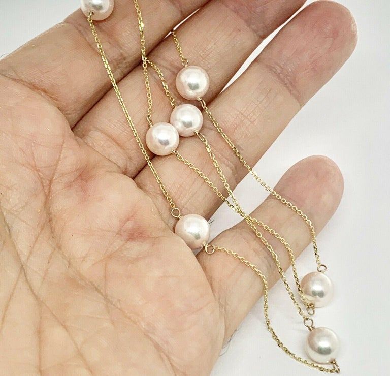 Akoya Pearl Station Necklace 14 Karat Gold Large Certified In New Condition For Sale In Brooklyn, NY
