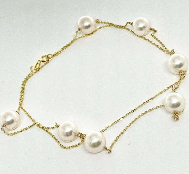 Akoya Pearl Station Necklace 14 Karat Gold Large Certified For Sale 1