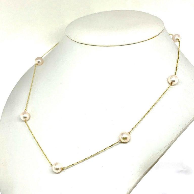 Akoya Pearl Station Necklace 14 Karat Gold Large Certified For Sale 2