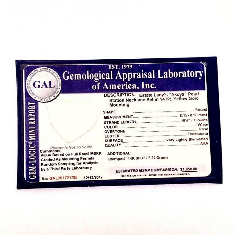 Akoya Pearl Station Necklace 14 Karat Gold Large Certified For Sale 3