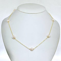 Akoya Pearl Station Necklace 14 Karat Gold Large Certified
