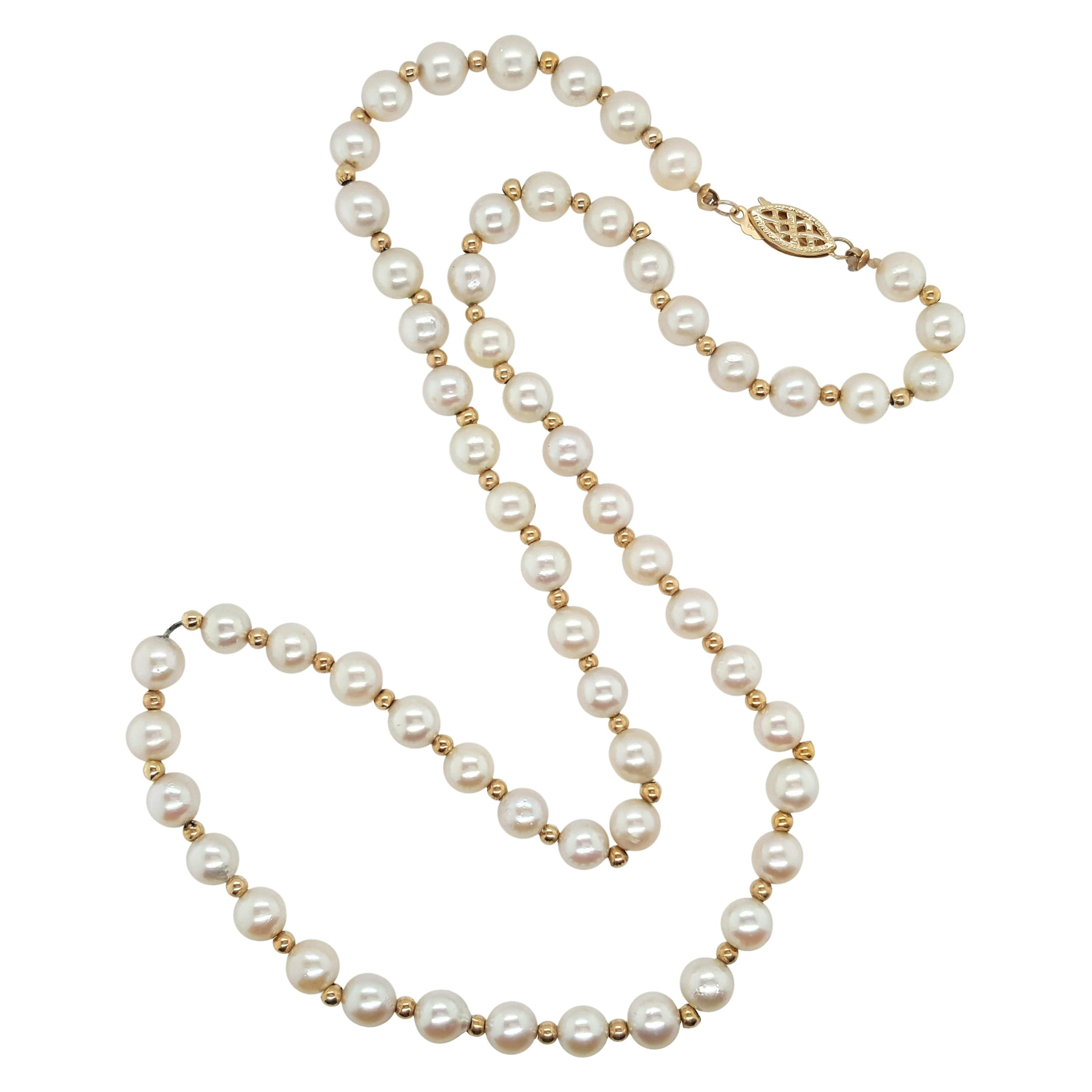 Akoya Pearl Strand Accented by 14 Karat Yellow Gold Beads Necklace