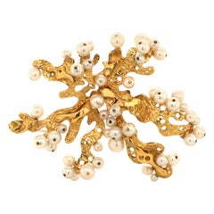 Akoya Pearl Yellow Gold Brooch