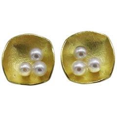 Akoya Pearls 18 Karat Yellow Gold Square Studs Earrings Kayo Saito