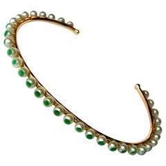 Akoya Pearls and Emeralds 18 Karat Rose Gold thin Bracelet