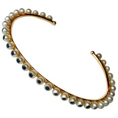 Akoya Pearls and Sapphires 18 Karat Rose Gold thin Bracelet